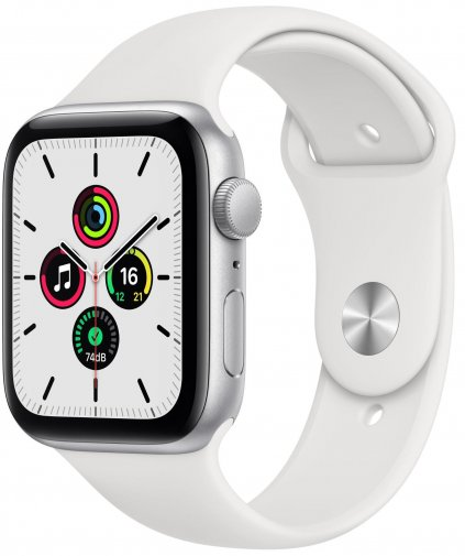 Смарт годинник Apple Watch Series SE GPS 44mm Silver Aluminium Case with White Sport Band (MYDQ2)