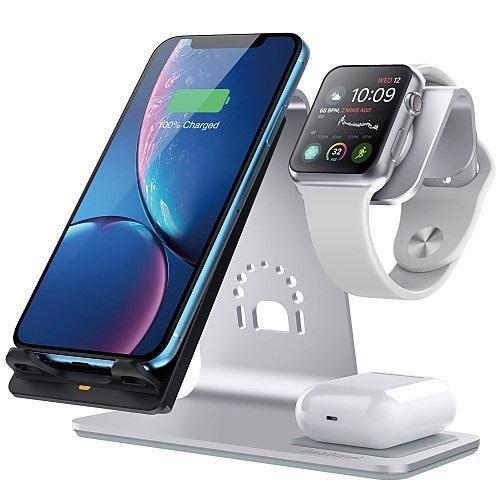 Док-станція Bestand Wireless charge iPhone / Apple Watch / AirPods - Silver (Ewke-S3n1)