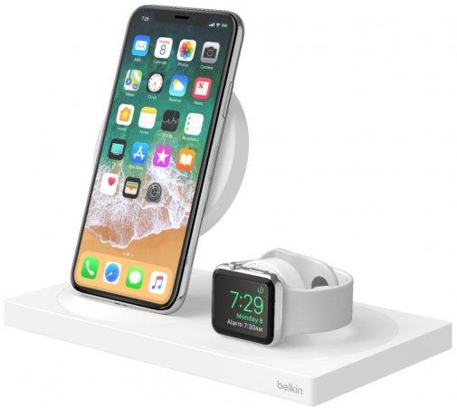 Док-станція Belkin 2in1 Wireless Pad/Stand/Apple Watch White (F8J234VFWHT-APL)